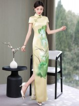 cheongsam Summer 2021 M. L, XL, 2XL, 3XL, 4XL, 5XL, quality goods in stock Short sleeve long cheongsam ethnic style High slit perform Round lapel Decor 25-35 years old Piping Other / other Brocade 96% and above
