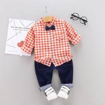 suit Other / other male spring and autumn Korean version Long sleeve + pants 3 pieces routine No model other Pure cotton (100% cotton content) Class A 12 months, 18 months, 2 years, 3 years old