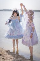 Lolita / soft girl / dress Tagkita / she and others Cyan jsk deposit, light blue jsk deposit, white purple jsk deposit S,M,L