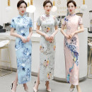 cheongsam Summer of 2018 S M L XL XXL XXXL 4XL 5XL Short sleeve long cheongsam Retro High slit daily Oblique lapel Decor 25-35 years old Piping Yijiahong polyester fiber Polyester 100% Pure e-commerce (online only)