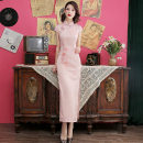 cheongsam Summer of 2019 S M L XL XXL XXXL 4XL Short sleeve long cheongsam Retro Low slit daily Oblique lapel Decor 25-35 years old Piping Yijiahong polyester fiber Polyester 100% Pure e-commerce (online only)