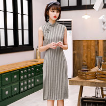 cheongsam Spring 2020 S M L XL XXL XXXL Light gray stripe dark gray stripe Sleeveless Short cheongsam Retro Low slit daily Oblique lapel stripe 18-25 years old Piping Yijiahong polyester fiber Polyester 100% Pure e-commerce (online only)