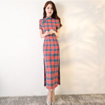 cheongsam Summer of 2019 S M L XL XXL XXXL Short sleeve long cheongsam Retro Low slit daily Oblique lapel Decor 25-35 years old Piping Yijiahong polyester fiber Polyester 100% Pure e-commerce (online only)