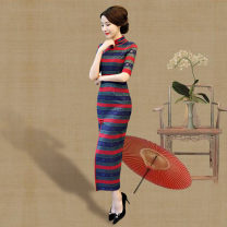 cheongsam Fall 2017 S M L XL XXL XXXL 4XL 7894 lace stripe other long cheongsam Retro High slit daily double-breasted  Decor 25-35 years old Piping Yijiahong polyester fiber Polyester 100% Pure e-commerce (online only)