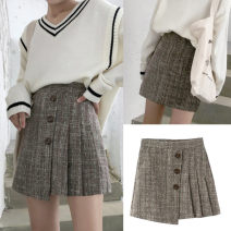 skirt Winter of 2018 M,L,XL,2XL,3XL,4XL Camel color, this model comes with anti light pants Short skirt Versatile Pleated skirt lattice Type A DM2216 31% (inclusive) - 50% (inclusive) Wool Other / other polyester fiber Fold, asymmetric