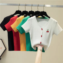 T-shirt Average size Summer 2021 Short sleeve V-neck Self cultivation have cash less than that is registered in the accounts puff sleeve commute other 31% (inclusive) - 50% (inclusive) 18-24 years old Korean version youth Solid color fold