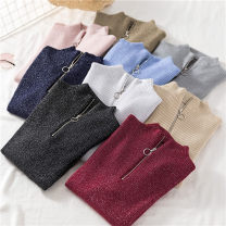 Wool knitwear Autumn of 2019 Average size Black, Burgundy, Navy, gray, khaki, pink, blue, apricot, white Long sleeves singleton  Socket other 51% (inclusive) - 70% (inclusive) Regular routine commute Self cultivation Half height crew neck routine Socket Korean version Bright silk