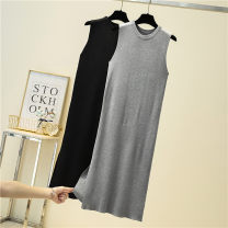 Dress Summer 2020 Black, gray Average size Mid length dress singleton  Sleeveless commute Crew neck High waist Solid color Socket A-line skirt other camisole Type A Korean version