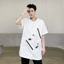 T-shirt Youth fashion White, black routine M,L,XL,2XL Others Short sleeve Crew neck easy Other leisure summer youth routine Hip hop 2021 Solid color Creative interest