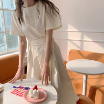 Dress Summer 2021 Apricot, blue S,M,L,XL Mid length dress singleton  Short sleeve commute Crew neck High waist Solid color zipper A-line skirt puff sleeve Others 18-24 years old Type A Korean version Tuck, tie, strap, zipper 81% (inclusive) - 90% (inclusive) polyester fiber