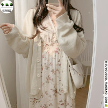 Dress Winter 2020 Off white S,M,L,XL Mid length dress singleton  Long sleeves commute V-neck Elastic waist Decor Single breasted A-line skirt Lotus leaf sleeve Others 18-24 years old Type A Korean version Flounce, fungus, button, print 51% (inclusive) - 70% (inclusive) Chiffon