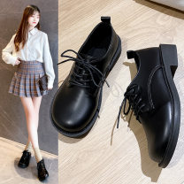 Low top shoes 35,36,37,38,39 In the same boat Matte black, shiny black Round head PU Square heel Middle heel (3-5cm) Deep mouth PU Spring 2021 Frenulum Korean version Adhesive shoes Youth (18-40 years old) Solid color rubber Single shoes Thin band combination cloth daily Face dressing