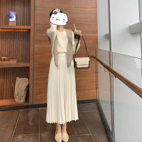 skirt Spring 2021 S, M Off white, black longuette commute High waist A-line skirt Solid color Type A other polyester fiber Simplicity