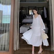 Dress Winter 2020 Dress, sunscreen, suit (dress + sunscreen) S,M,L longuette Sweet V-neck Solid color Big swing princess