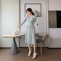 Dress Winter 2020 Picture color S,M,L,XL longuette singleton  Long sleeves commute V-neck High waist Decor Socket A-line skirt routine Type A Retro 71% (inclusive) - 80% (inclusive)