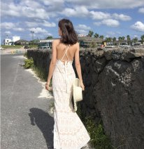 Dress Summer 2020 white S,M,L longuette singleton  Sweet Crew neck High waist Solid color Socket camisole Type A Open back, Gouhua, hollow out, lace Lace Bohemia