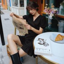 Dress Summer 2020 black S,M,L Short skirt singleton  Short sleeve commute V-neck middle-waisted Solid color other Ruffle Skirt puff sleeve Type A Retro Frenulum