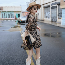 Dress Autumn 2020 Floral skirt with sling inside Average size Middle-skirt Two piece set Short sleeve commute V-neck High waist Decor Socket A-line skirt routine Type A ethnic style printing Chiffon polyester fiber