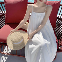 Dress Summer 2021 white S,M,L,XL longuette other Sleeveless Sweet One word collar Solid color Socket Big swing camisole 18-24 years old Type A 31% (inclusive) - 50% (inclusive) other Bohemia