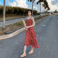 Dress Summer 2020 Red, black S,M,L,XL Mid length dress singleton  Sleeveless commute V-neck middle-waisted Decor zipper Ruffle Skirt camisole 25-29 years old Type A Retro Ruffles, zippers, prints