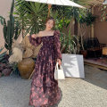 Dress Autumn 2020 Picture color S. M, l, XL, contact customer service for the same hat longuette singleton  Long sleeves commute square neck High waist Decor Socket Cake skirt bishop sleeve Others 25-29 years old Type A Retro 81% (inclusive) - 90% (inclusive) Chiffon polyester fiber