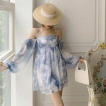 Dress Autumn 2020 Blue and white S,M,L Middle-skirt singleton  Long sleeves street High waist Decor puff sleeve camisole Type X Chiffon cotton Sports & Leisure
