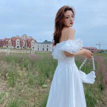 Dress Winter 2020 White - send cream S,M,L,XL longuette singleton  Short sleeve Sweet One word collar Solid color zipper Big swing Petal sleeve Bohemia