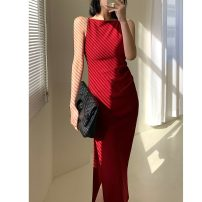 Dress Summer 2021 S,M,L,XL Mid length dress singleton  Sleeveless commute Solid color zipper A-line skirt camisole Type A Retro 71% (inclusive) - 80% (inclusive)