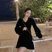 Dress Spring 2021 black S,M,L,XL Short skirt singleton  Long sleeves commute V-neck High waist Solid color zipper A-line skirt routine 25-29 years old Type A Retro zipper polyester fiber