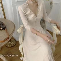 Dress Autumn 2020 Picture color S,M,L longuette singleton  Long sleeves commute V-neck High waist routine Type A Retro