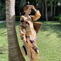 Dress Spring 2021 Autumn yellow print S,M,L,XL Mid length dress singleton  Long sleeves Sweet square neck High waist Decor Others 18-24 years old