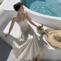 Dress Summer 2021 Champagne XS,S,M,L longuette singleton  Sleeveless commute V-neck High waist Decor Socket A-line skirt routine camisole 25-29 years old Type A printing 81% (inclusive) - 90% (inclusive) Chiffon polyester fiber