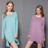 Nightdress Other / other Black, Korean pink, Korean purple, mint green Average size Simplicity Long sleeves Leisure home Middle-skirt summer Solid color youth Crew neck cotton One piece 81% (inclusive) - 95% (inclusive) Modal fabric 200g and below