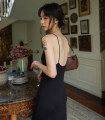 Dress Summer 2020 black S,M,L longuette singleton  Sleeveless Sweet One word collar High waist Solid color Socket A-line skirt routine camisole 18-24 years old Type H backless 71% (inclusive) - 80% (inclusive) knitting cotton Bohemia
