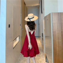 Dress Summer of 2019 gules S,M,L,XL Miniskirt singleton  commute V-neck High waist Solid color camisole Other / other Retro polyester fiber