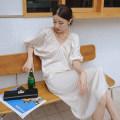 Dress Autumn 2020 Graph color XS,S,M,L longuette singleton  elbow sleeve commute V-neck Loose waist Solid color Socket bishop sleeve T-type Simplicity polyester fiber