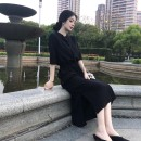 Dress Summer 2020 Black, blue S,M,L,XL,2XL longuette singleton  elbow sleeve commute Polo collar High waist Solid color Single breasted A-line skirt routine Others Type H Korean version Button, button Chiffon