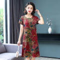 Middle aged and old women's wear Summer 2021 Red, coffee S,M,L,XL,2XL,3XL,4XL ethnic style Dress easy singleton  Flower and bird pattern Socket moderate Crew neck Medium length routine other Medium length other