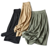 skirt Summer 2021 S,M,L,XL Green, black, khaki Mid length dress commute Natural waist A-line skirt Solid color More than 95% other other Simplicity
