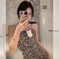 Dress Summer 2020 Broken flowers S,M,L Middle-skirt singleton  Sleeveless commute One word collar High waist Decor camisole 18-24 years old Nanxi sister Korean version NSQ42334 71% (inclusive) - 80% (inclusive)