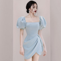 Dress Summer 2020 Light blue, red, black S,M,L,XL Middle-skirt singleton  Short sleeve commute square neck High waist Solid color zipper Irregular skirt other Others 25-29 years old Type H Other / other Ol style Pleating, stitching, asymmetry, zipper other nylon