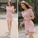 Dress Summer of 2019 Pink S,M,L,XL Mid length dress singleton  Short sleeve commute square neck High waist Solid color Socket One pace skirt routine Others 25-29 years old Type H Ol style 51% (inclusive) - 70% (inclusive) brocade polyester fiber