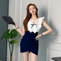Dress Summer 2021 Red, blue, black S,M,L Short skirt singleton  Sleeveless commute V-neck High waist Solid color Irregular skirt other 25-29 years old Type X Korean version