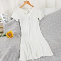Dress Summer 2021 Black, white, grey Average size Short skirt singleton  Short sleeve commute Crew neck High waist Solid color Socket A-line skirt routine 18-24 years old Type A Korean version 51% (inclusive) - 70% (inclusive) other cotton
