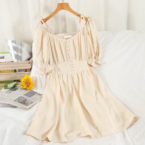 Dress Summer 2021 Black, white, apricot, blue Average size Short skirt singleton  Short sleeve commute V-neck High waist Solid color Socket A-line skirt puff sleeve Others 18-24 years old Type A Korean version Button 51% (inclusive) - 70% (inclusive) Chiffon other