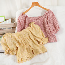 shirt Yellow, green, pink Average size Summer 2021 other 51% (inclusive) - 70% (inclusive) Short sleeve commute Short style (40cm < length ≤ 50cm) square neck Socket puff sleeve lattice 18-24 years old Self cultivation Korean version Cotton and hemp