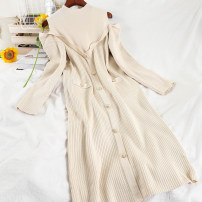Dress Winter 2020 Black, apricot Average size longuette singleton  Long sleeves commute Half high collar High waist Solid color Socket A-line skirt routine Others 25-29 years old Type A Korean version Button 51% (inclusive) - 70% (inclusive) knitting