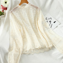 Lace / Chiffon Autumn 2020 White, apricot Average size Long sleeves commute Socket singleton  Straight cylinder Regular stand collar Solid color routine 18-24 years old Lace Korean version 51% (inclusive) - 70% (inclusive)