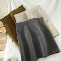 skirt Autumn 2020 S,M,L Grey, apricot, black, coffee, card green Short skirt commute High waist A-line skirt Solid color Type A 18-24 years old 51% (inclusive) - 70% (inclusive) Wool polyester fiber zipper