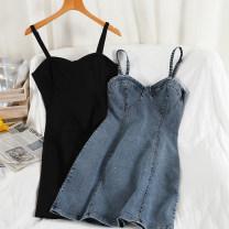 Dress Spring 2021 black , grey , blue , Zebra pattern M, L Short skirt singleton  Long sleeves commute V-neck High waist other Socket A-line skirt other Others 18-24 years old Type A Korean version Splicing 51% (inclusive) - 70% (inclusive) Denim other